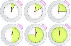 De klok van de tijdopnemer met 5, 10, 15, 30, 45, 60 min tekens vector illustratie