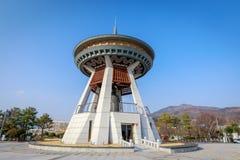 De klok van de Gimhaeburger, een reusachtige die klok in het centrum van de Gimhae-stad wordt geplaatst Royalty-vrije Stock Foto's