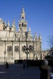 De klok van Giralda van de Kathedraal van Sevilla Royalty-vrije Stock Foto's