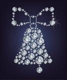 De klok van Kerstmis die van diamanten wordt gemaakt Stock Fotografie