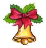 De Klok van Kerstmis met Rode Boog Royalty-vrije Stock Fotografie