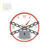 De klok is verbindend en gesloten met kettingen met een hangslot vlakke vecto Royalty-vrije Stock Afbeelding