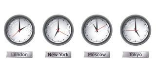 De klokken van de tijdzone Stock Afbeeldingen