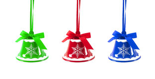 De klokken van het Kerstmiskenwijsje op een wit Nieuwjaar als achtergrond Royalty-vrije Stock Foto