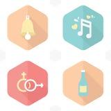 De klokken van huwelijkssymbolen, muziek, geslacht, drank Royalty-vrije Stock Afbeeldingen