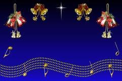 De klokken van Kerstmis en muzikale staaf. Stock Fotografie