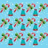 De klokken van Kerstmis en suikergoedpatroon Stock Afbeelding