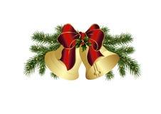 De klokken van Kerstmis met rode boog Stock Foto