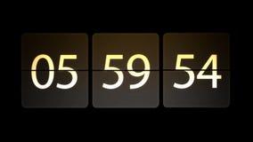 De klokken worden geplaatst bij 06:00: 00 beginnen met de aftelprocedure Chaotische bewegende klok stock illustratie