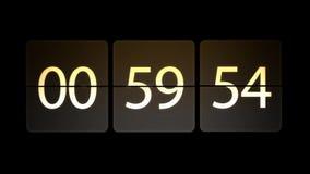 De klokken worden geplaatst bij 01:00: 00 beginnen met de aftelprocedure Chaotische bewegende klok stock illustratie