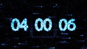 De klokken worden geplaatst bij 04:00 beginnend een nieuwe aftelprocedure De aftelprocedure op het computerscherm Nul aftelproced royalty-vrije illustratie