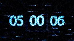 De klokken worden geplaatst bij 05:00 beginnend een nieuwe aftelprocedure De aftelprocedure op het computerscherm Nul aftelproced royalty-vrije illustratie