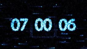 De klokken worden geplaatst bij 07:00 beginnend een nieuwe aftelprocedure De aftelprocedure op het computerscherm Nul aftelproced vector illustratie