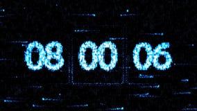 De klokken worden geplaatst bij 08:00 beginnend een nieuwe aftelprocedure De aftelprocedure op het computerscherm Nul aftelproced royalty-vrije illustratie