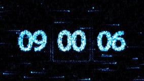 De klokken worden geplaatst bij 09:00 beginnend een nieuwe aftelprocedure De aftelprocedure op het computerscherm Nul aftelproced stock illustratie