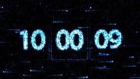 De klokken worden geplaatst bij 10:00 beginnend een nieuwe aftelprocedure De aftelprocedure op het computerscherm Nul aftelproced stock illustratie