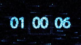 De klokken worden geplaatst bij 01:00 beginnend een nieuwe aftelprocedure De aftelprocedure op het computerscherm Nul aftelproced stock illustratie