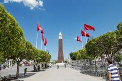 De klokketoren in de hoofdstad van Tunesië stock foto's