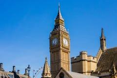 De klokketoren horizontaal Londen van Big Ben, Stock Fotografie