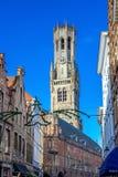 De klokketoren van Brugge Stock Afbeelding