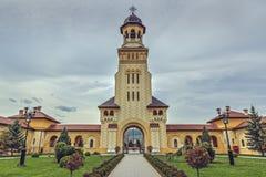 De Klokketoren van de kroningskathedraal, Alba Iulia, Roemenië Stock Fotografie