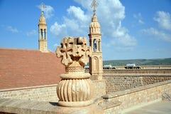 De klokketoren van het Klooster van Mor Gabriel, wordt het klooster gevestigd dichtbij Midian in de provincie van Mardin royalty-vrije stock fotografie