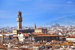 De klokketoren van het Oude Paleis (Palazzo Vecchio) in Signoria-Vierkant, Florence Italy Royalty-vrije Stock Foto