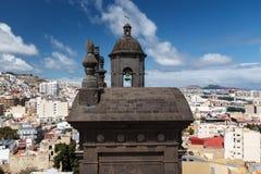 De klokketoren van Kathedraal van Santa Ana Royalty-vrije Stock Foto's