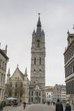 De Klokketorentoren in Gent Royalty-vrije Stock Foto's