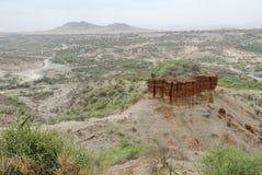 De Kloof van panoramaolduvai, de Wieg van Mensheid, Groot Rift Valley, Tanzania, Oostelijk Afrika royalty-vrije stock foto