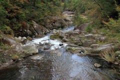 De kloven en moutain de stroom van Mitakeshosenkyo met rode de herfstbladeren Royalty-vrije Stock Afbeeldingen
