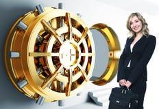 De kluis van de vrouw en van de bank Stock Foto