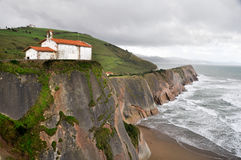 De kluis van San Telmo, Zumaia, Gipuzkoa, Baskisch Land, Spanje stock afbeeldingen