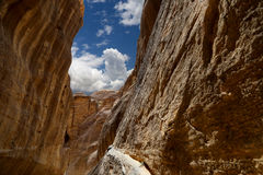 De 1.2km lange weg (Siq) aan de stad van Petra, Jordanië Royalty-vrije Stock Afbeeldingen