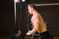 De knappe bodybuilder werkt oefening in gymnastiek uit Royalty-vrije Stock Afbeeldingen