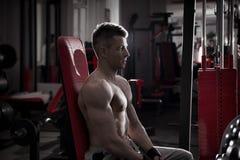 De knappe bodybuilder werkt op atletische bank in gymnastiek uit Perfect spier mannelijk lichaam Stock Afbeelding