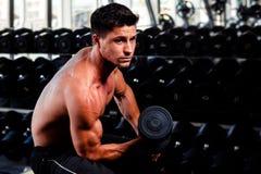 De knappe bodybuilder werkt uit Royalty-vrije Stock Afbeeldingen
