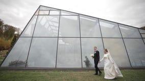 De knappe bruidegom en de charmante bruid brengen samen tijd na huwelijksceremonie in door het park stock videobeelden