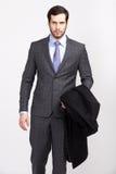De knappe bureau bedrijfsmens met baard kleedde zich in elegant kostuum, royalty-vrije stock foto