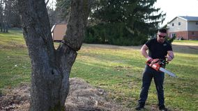 De knappe ingehuurde contractant treft voorbereidingen om een boom met kettingzaag te verminderen stock footage