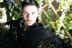 De knappe mens die zwart overhemd met blauwe ogen en baard dragen onderzoekt camera stock foto's