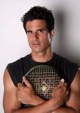 De knappe Racket van de Holding van de Speler van het Tennis Royalty-vrije Stock Foto