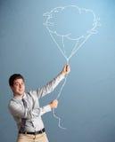 De knappe tekening van de de wolkenballon van de mensenholding Stock Afbeelding