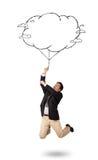 De knappe tekening van de de wolkenballon van de mensenholding Royalty-vrije Stock Afbeeldingen