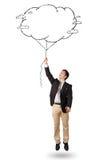 De knappe tekening van de de wolkenballon van de mensenholding Royalty-vrije Stock Fotografie