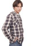 De knappe tiener met dient zak in Royalty-vrije Stock Foto's