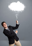 De wolk van de jonge mensenholding Stock Foto