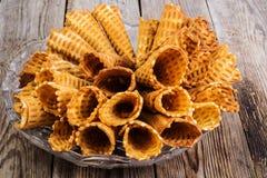 De knapperige Broodjes van het Wafeltje royalty-vrije stock afbeelding