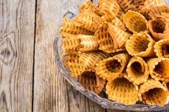De knapperige Broodjes van het Wafeltje royalty-vrije stock fotografie