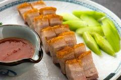 De knapperige Oosterse Buik van het Braadstukvarkensvlees met achtergrond Royalty-vrije Stock Foto